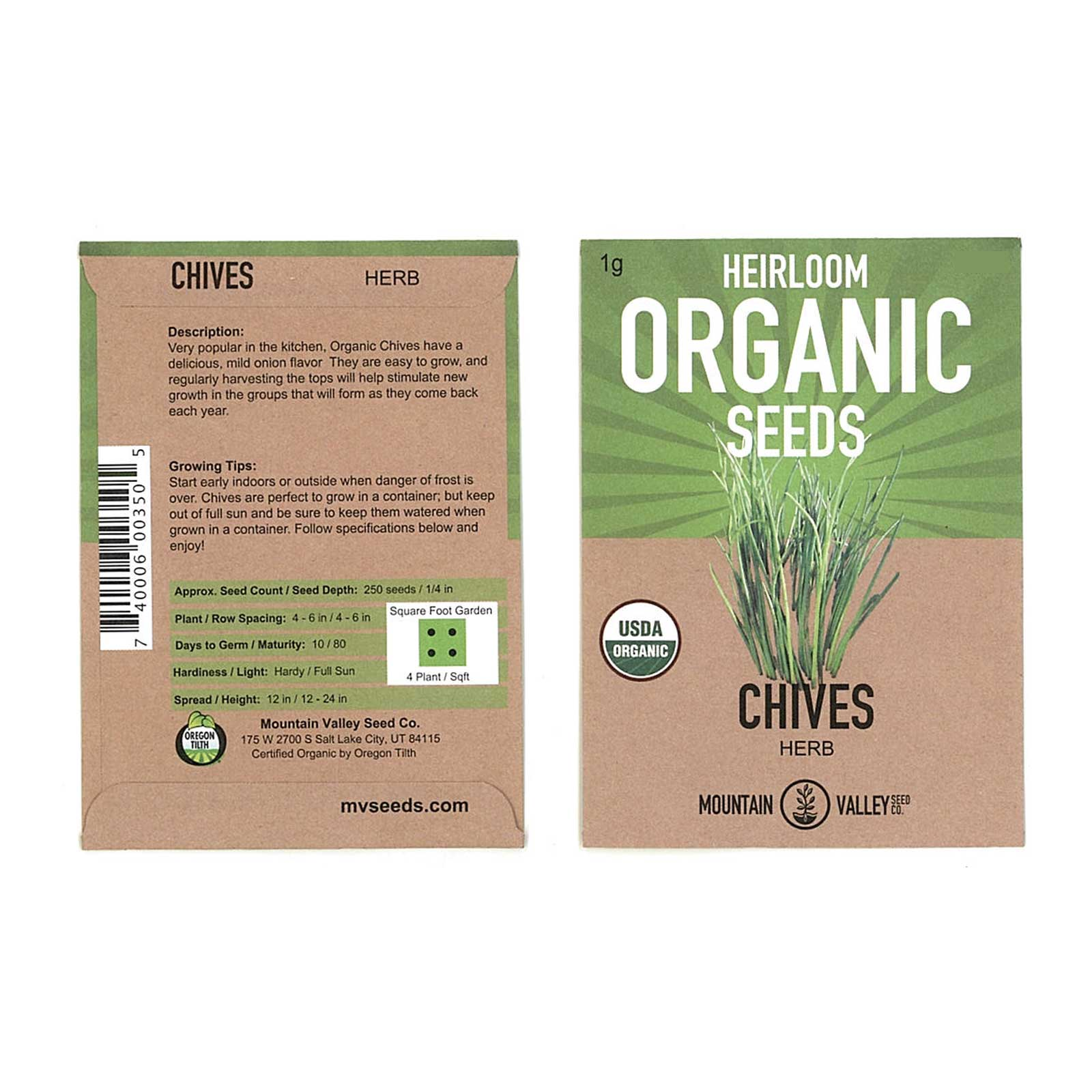 Organic Chives Herb Garden Seeds - 1 Gram Packet - Non-GMO, Heirloom - Perennial Herbal Gardening & Microgreens