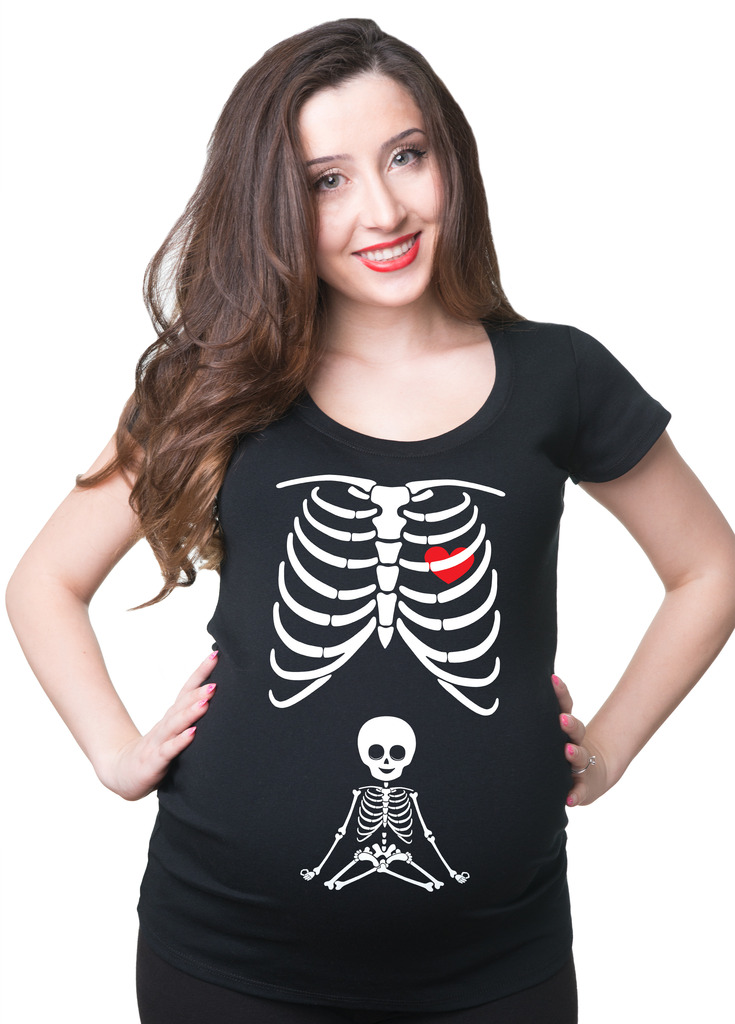 X-ray Skeleton Maternity pregnancy tee shirt  X-Large Black