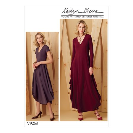 Vogue Patterns Sewing Pattern MISSES' KNIT, V-NECK, DRAPED DRESSES-All Sizes in One Envelope