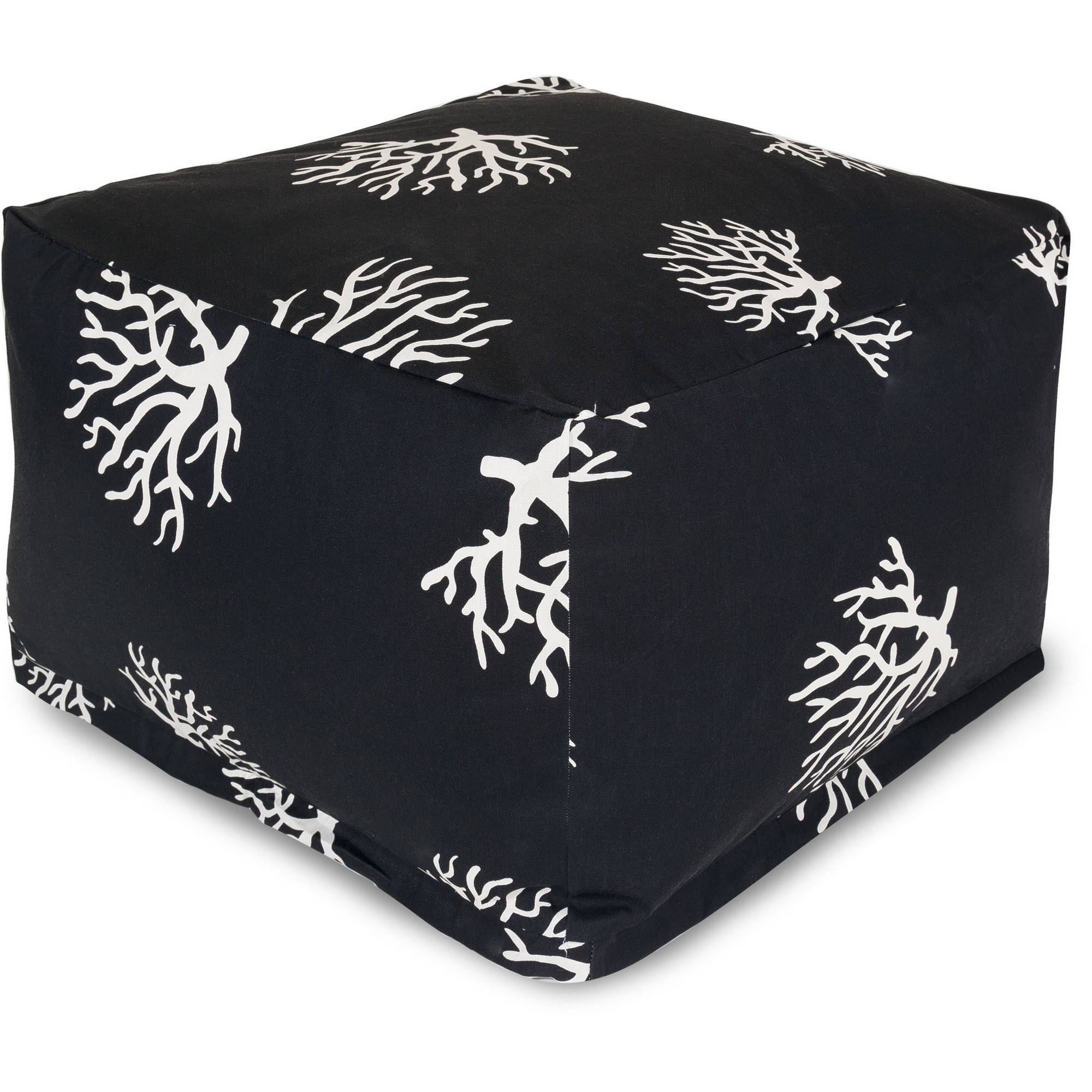 Majestic Home Goods Black Coral Bean Bag Ottoman, Indoor/Outdoor