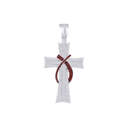 1.5 Carat Round White Natural Diamond & Simulated Garnet Hip Hop Cross Charm Pendant In 10k Solid White -