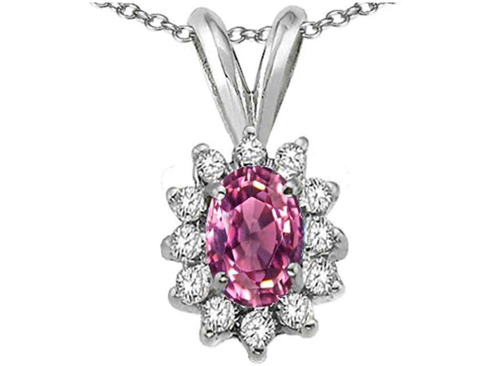 Tommaso Design Oval 7x5mm Genuine Pink Tourmaline Pendant Necklace by