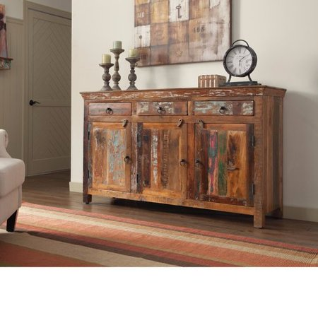 - Loon Peak Whitehall Street Well-Made Wooden 3 Door Accent Cabinet