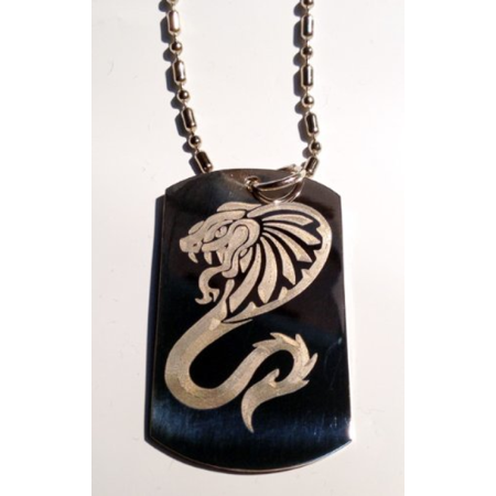 Tribal Snake (King Cobra Venom Tribal Snake Serpent Tattoo Logo Symbols - Military Dog Tag Luggage Tag Key Chain Metal Chain Necklace)