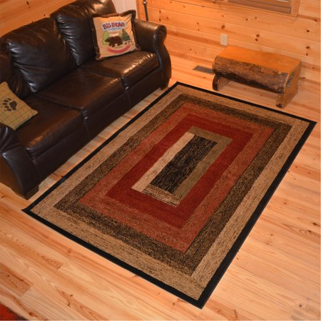 Rug Empire Rustic Lodge Panel Stripes Cabin Multi Area Rug - 5'3 x 7'3