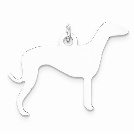 Sterling Silver Toni Tails Engravable Small Grey Hound Dog Disc Charm Pendant