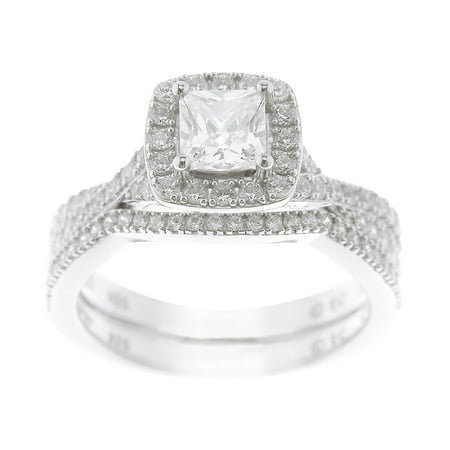 Sterling Silver Wedding Sets.1 36 Carat T G W Princess Cut Simulated Diamond Sterling Silver Bridal Set