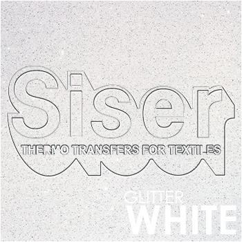 SISER Glitter White Iron On Letter Heat Transfer Vinyl HTV Contact Paper Decal Roll (Choose Your Size)