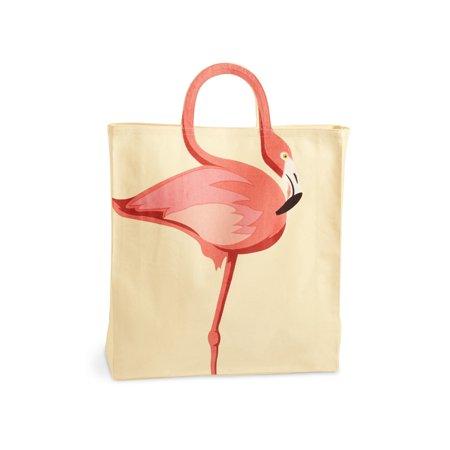 Women's Flamingo Tote Bag - Adorable Flamingo Neck Handle - Cotton Canvas](Flamingo Tote Bag)