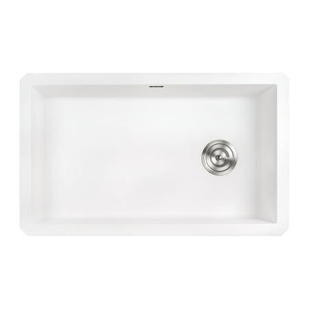 Ruvati 31 x 19 inch epiGranite Undermount Granite Composite Single Bowl Kitchen Sink - Arctic White - RVG2033WH - Granite Undermount Single Bowl