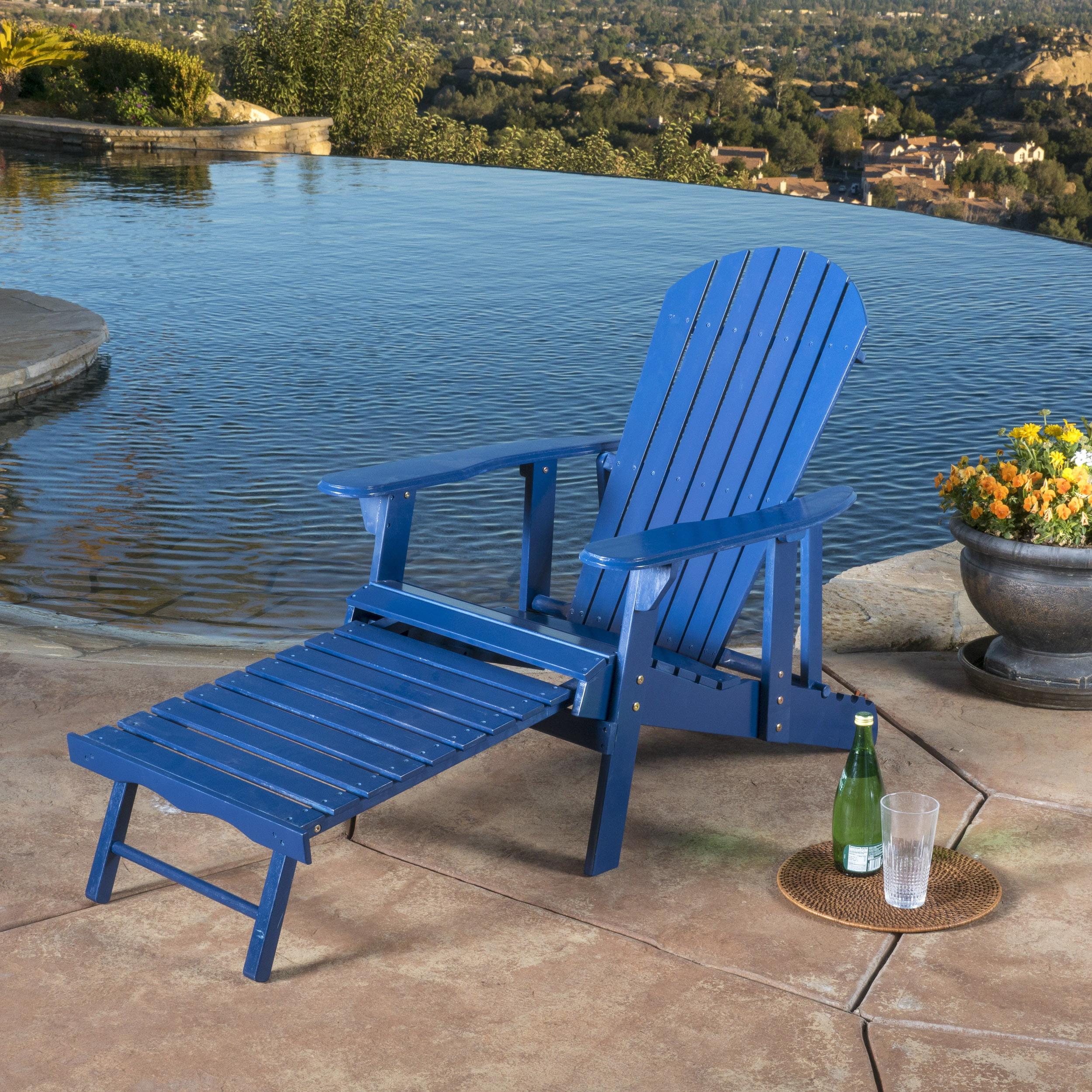 Munoz Reclining Wood Adirondack Chair with Footrest, Blue