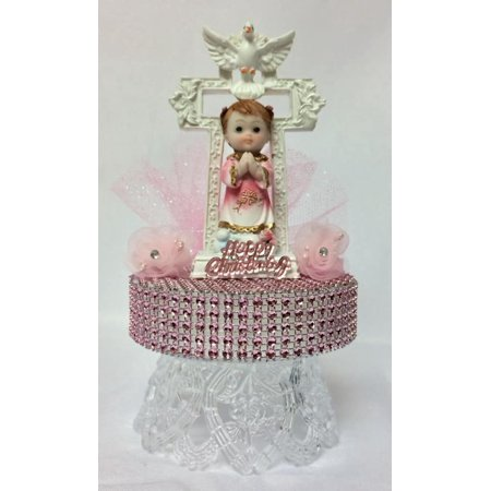 Christening Pink Girls Cake Decoration Cake Topper Keepsake