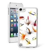 For Apple iPod Touch 5th / 6th Generation Hard Back Case Cover Fishing Flies (White)