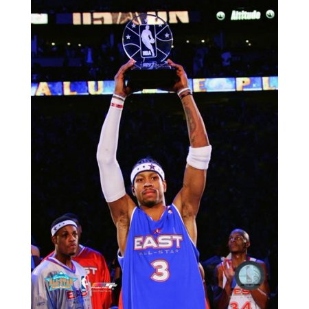 Allen Iverson - `05   All Star Game - Holds Up The MVP Trophy Photo - All Star Trophy