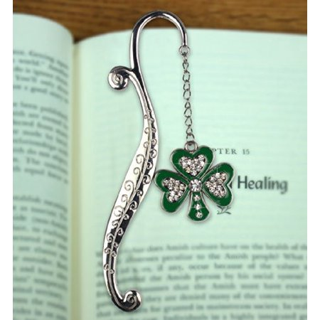Shamrock Bookmark - Metal Bookmark - Irish Bookmark with Green Shamrock with Jewels