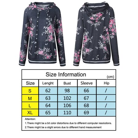 babydream1 Women Hooded Floral Printed Long Sleeve Pocket Drawstring Sweatshirt Top - image 2 of 7