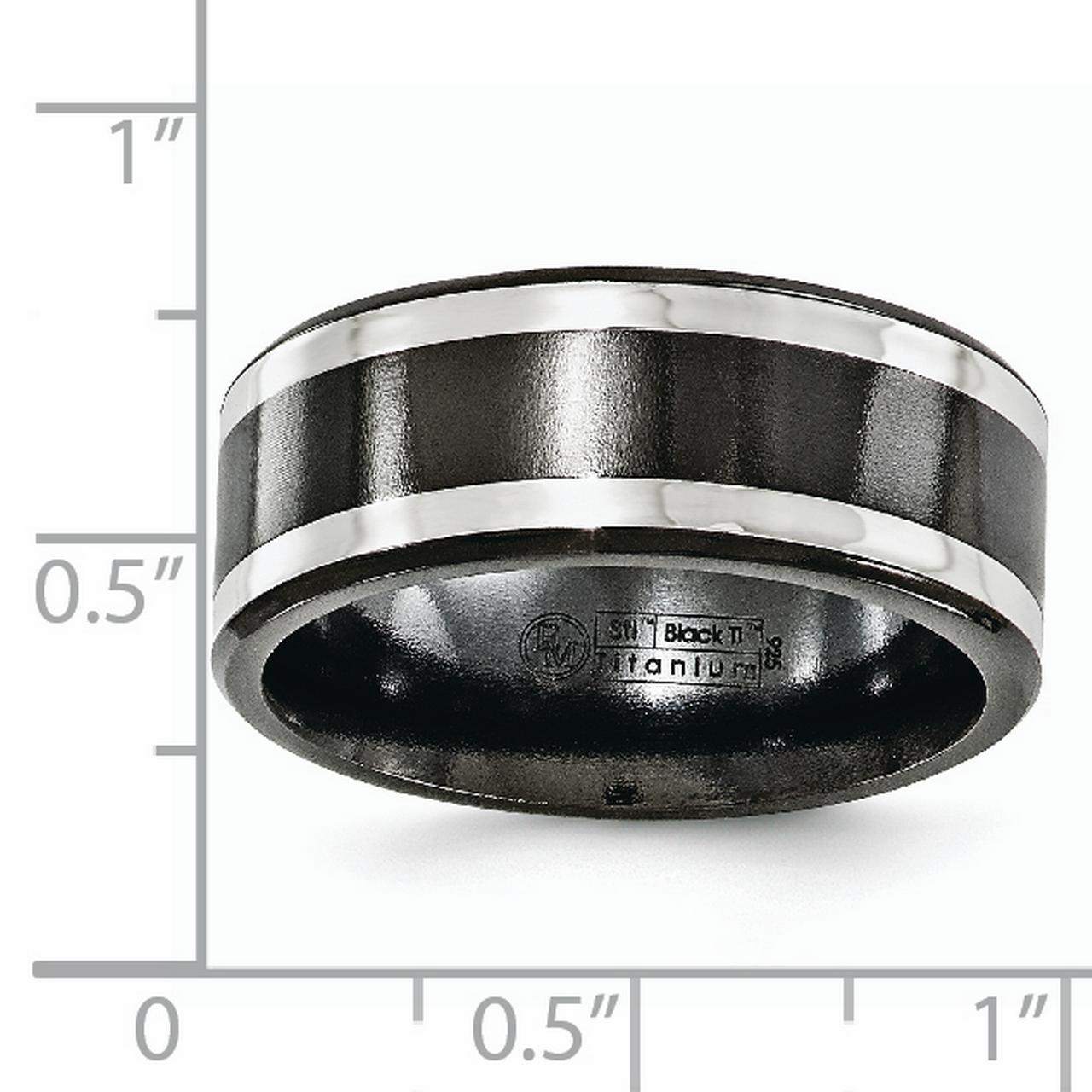 Edward Mirell Black Titanium 14k White Gold 9mm Wedding Ring Band Size 13.00 Man Classic Flat Precious Metal Fine Jewelry Gift For Dad Mens For Him - image 3 de 6