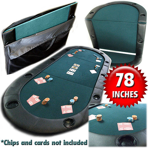 Trademark Poker Texas Hold'Em Folding Tabletop with Cup Holders 10-7936C