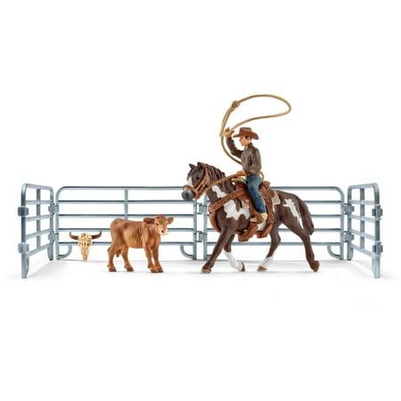 Cowboy Toy - Schleich Farm World, Team Roping with Cowboy Set
