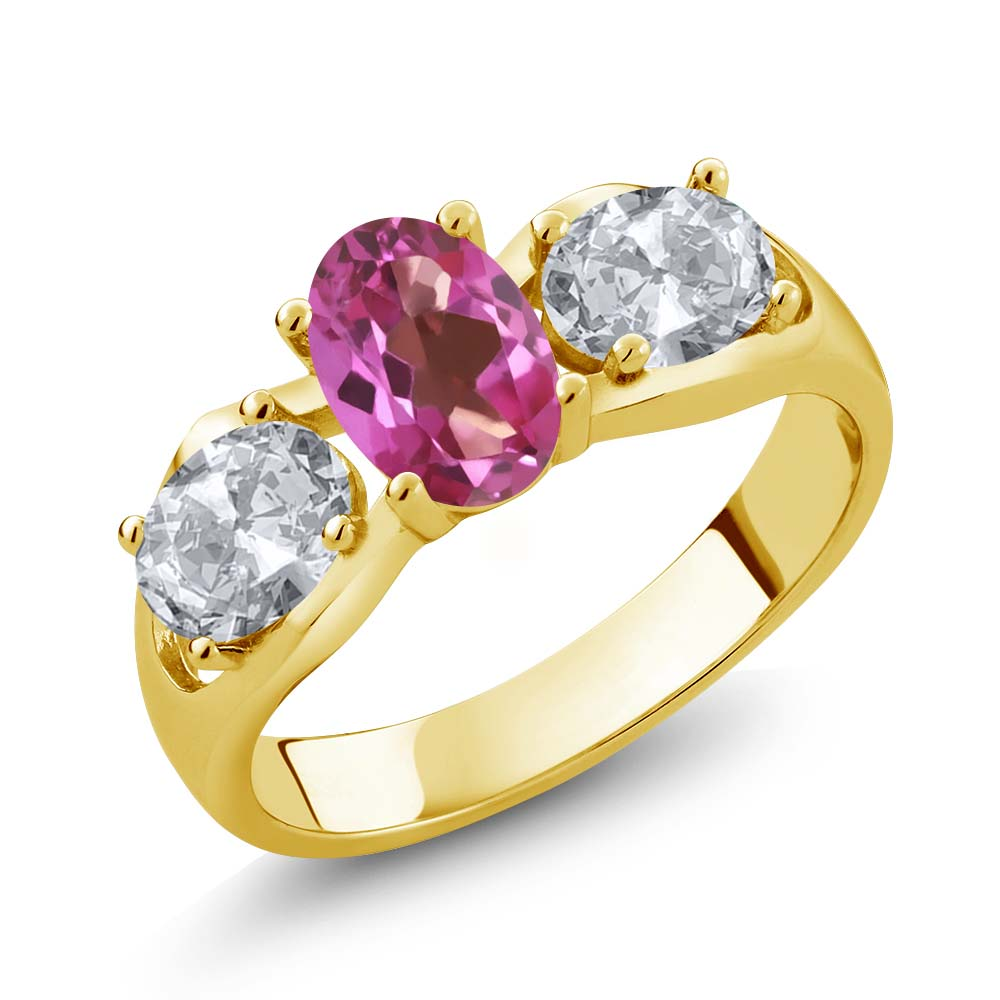 1.80 Ct Oval Pink Mystic Topaz White Topaz 14K Yellow Gold Ring by