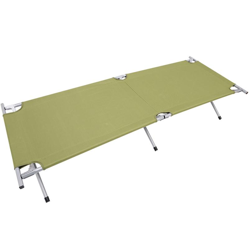 Outsunny Heavy-Duty Outdoor Folding Military Style Camping Cot Green by Outsunny