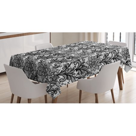 Leaf Tablecloth, Lace Style Graphic Ornament in Black and White Vintage Style Design with Gothic Look, Rectangular Table Cover for Dining Room Kitchen, 60 X 84 Inches, Black White, by Ambesonne - Black And White Tablecloth