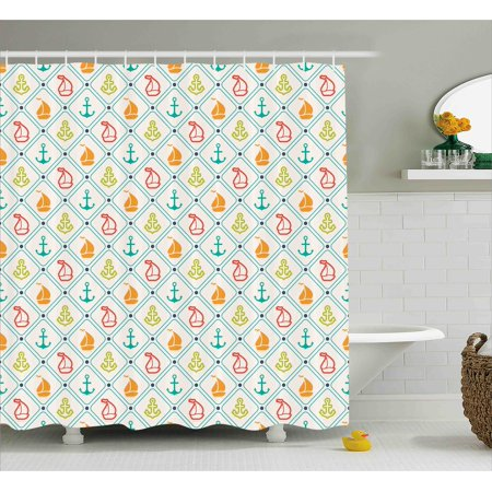 Nautical Decor Shower Curtain Marine Life Sailboat Yacht Anchor Pattern Offs Coastal Trip Retro Sea