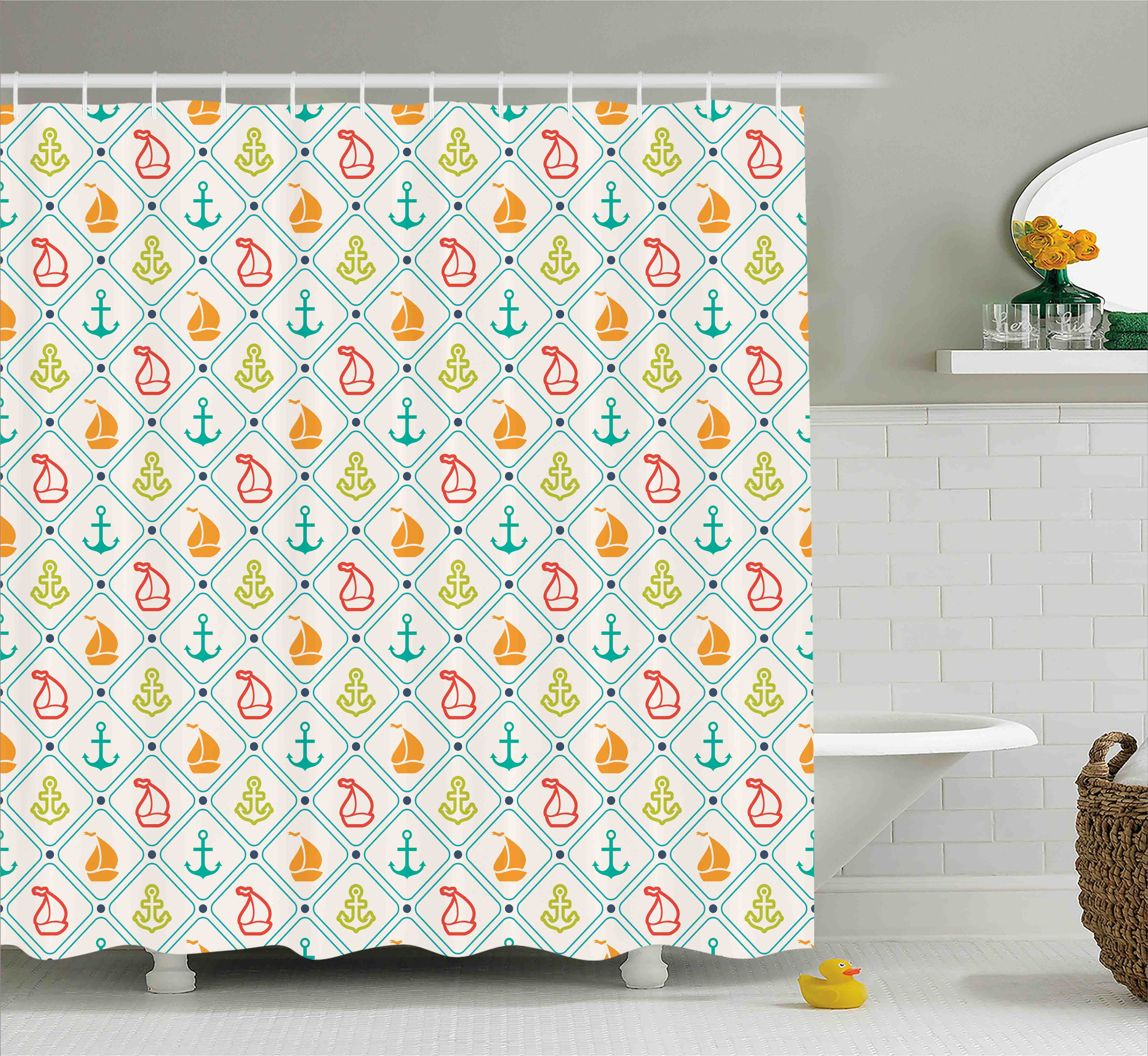 Nautical Decor Shower Curtain, Marine Life Sailboat Yacht Anchor Pattern  Offshore Coastal Trip Retro Sea