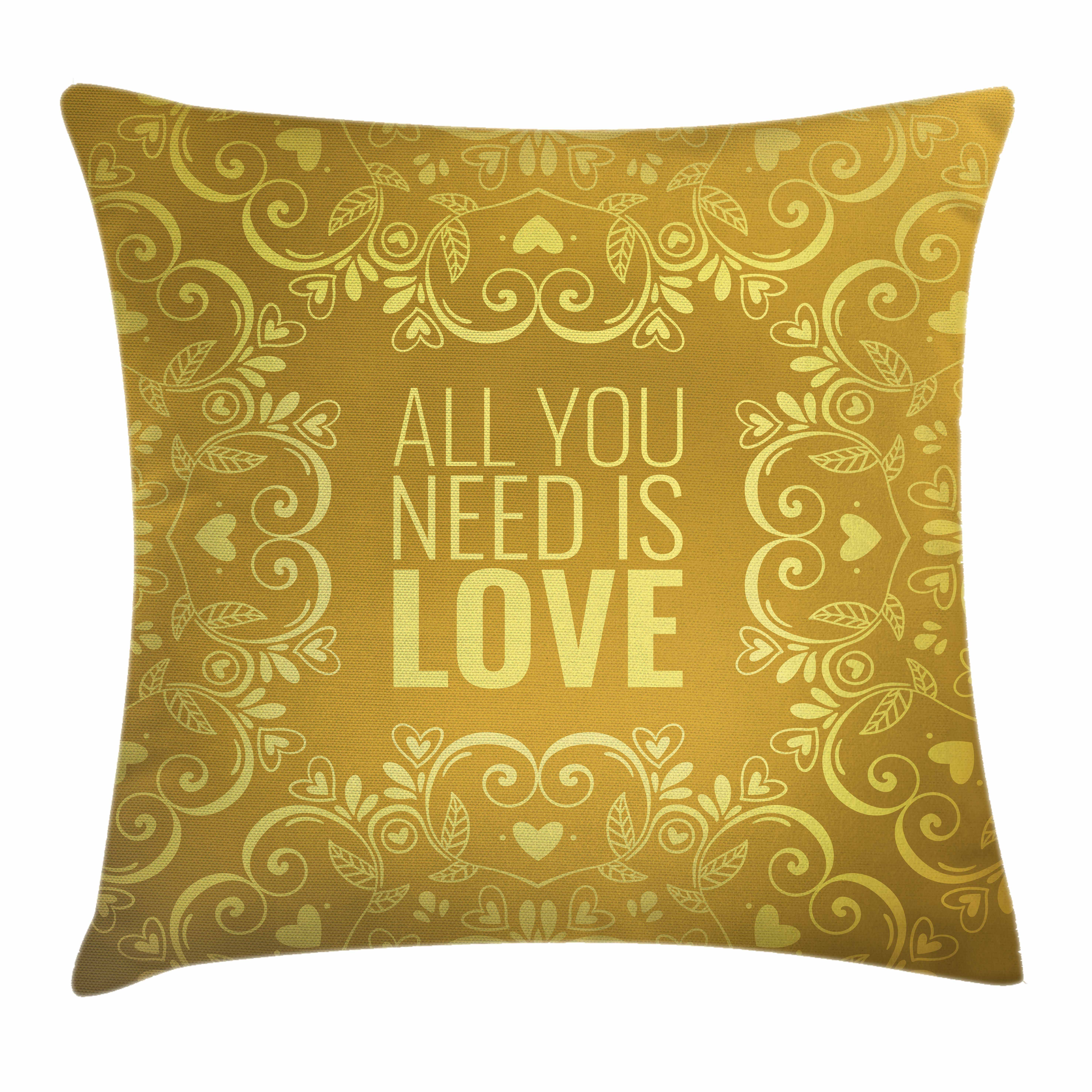 Gold Mandala Throw Pillow Cushion Cover, Romantic Floral Round Figures Hearts Quote In Love Valentine's Day Theme Doodle, Decorative Square Accent Pillow Case, 18 X 18 Inches, Gold, by Ambesonne
