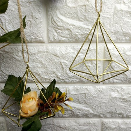 Tillandsia Air Plants Holder Freestanding Hanging Matte Golden Quadrilateral Pyramid Teardrop Shape Geometric Flowers Rack for Wedding Wall Decor