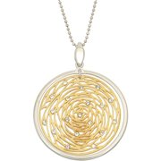 Giuliano Mameli White Swarovski Crystal Accent 14kt Gold-Plated Sterling Silver 30mm Inside Matte-Finished Rose and 35mm Outside White Polished Frame Pendant with Chain