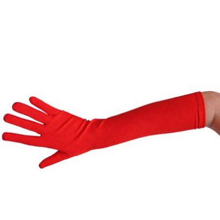 Elbow Length 18 inch Ladies Gloves Assorted Colors J18992 - Red