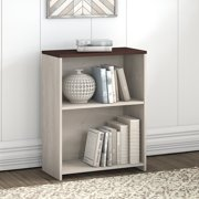 Bush Furniture Townhill 2 Shelf Bookcase in Washed Gray and Madison Cherry