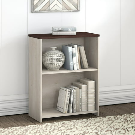 Grey Shelving (Bush Furniture Townhill 2 Shelf Bookcase in Washed Gray and Madison Cherry )