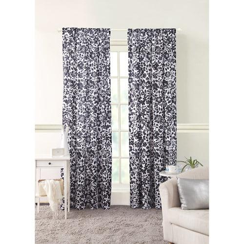 Amelia Black Floral Girls Bedroom Curtains, Set of 2