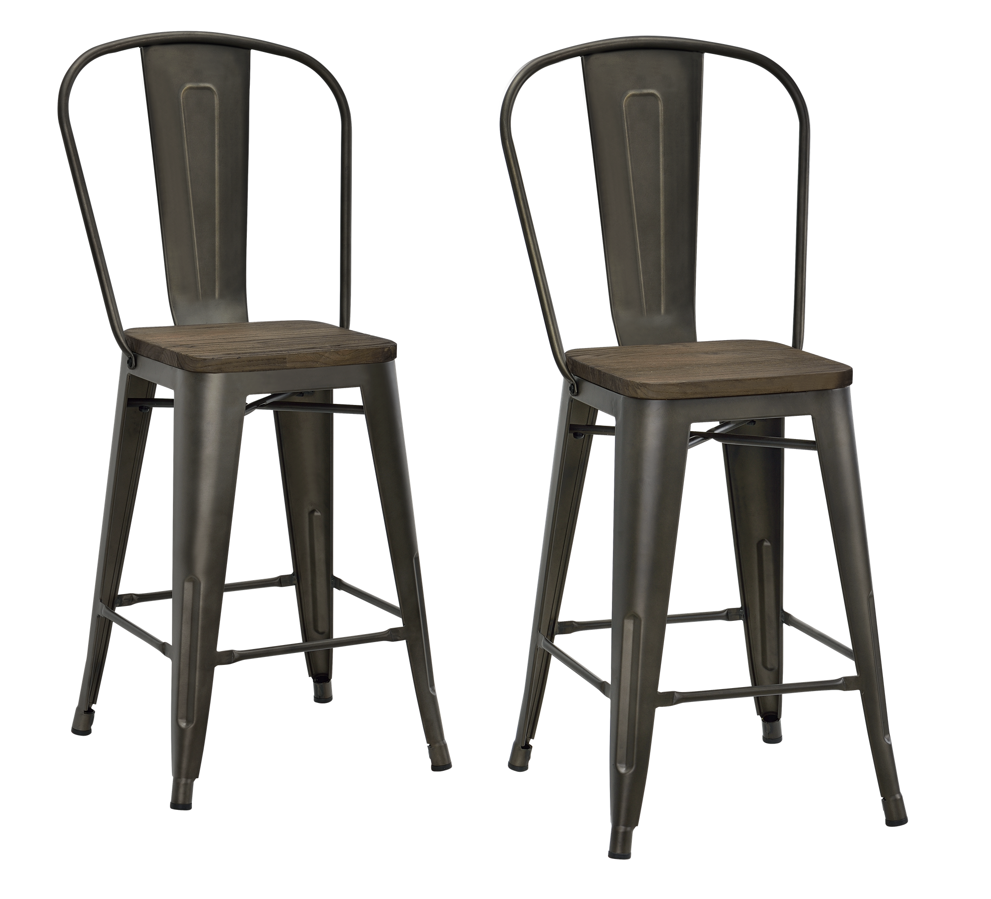 Marvelous Dhp Luxor 24 Metal Counter Stool With Wood Seat Set Of 2 Gmtry Best Dining Table And Chair Ideas Images Gmtryco