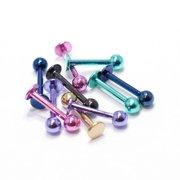 10-Piece Anodized Titanium Studs 16G Labret Monroe Cartilage Studs
