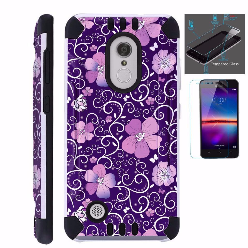 For LG Aristo 2 / LG Tribute Dynasty / LG K8 (2018) / LG Fortune 2 / LG Zone 4 (2018) Case+Tempered Glass Dual Layer Hybrid TPU KombatGuard Phone Cover (Purple Flowe Vine)