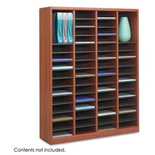 "Safco E-z Stor Literature Rack - 52.3"" Height X 40"" Width X 11.8"" Depth - 60 Compartment[s] - Fiberboard, Hardboard, Wood - Cherry (9331CY)"