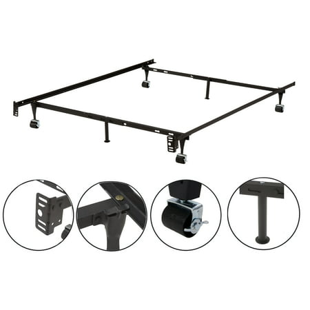 Owen Metal Adjustable Queen, Full, Full XL, Twin, Twin XL, Heavy Duty Bed Frame With 6 Legs, 2 Center Support, 2 Rug Rollers and 2 Locking Wheels