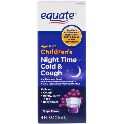 Equate Children's Antihistamine/Cough Suppressant Nasal Decongestant Liquid, Grape, 4 fl oz