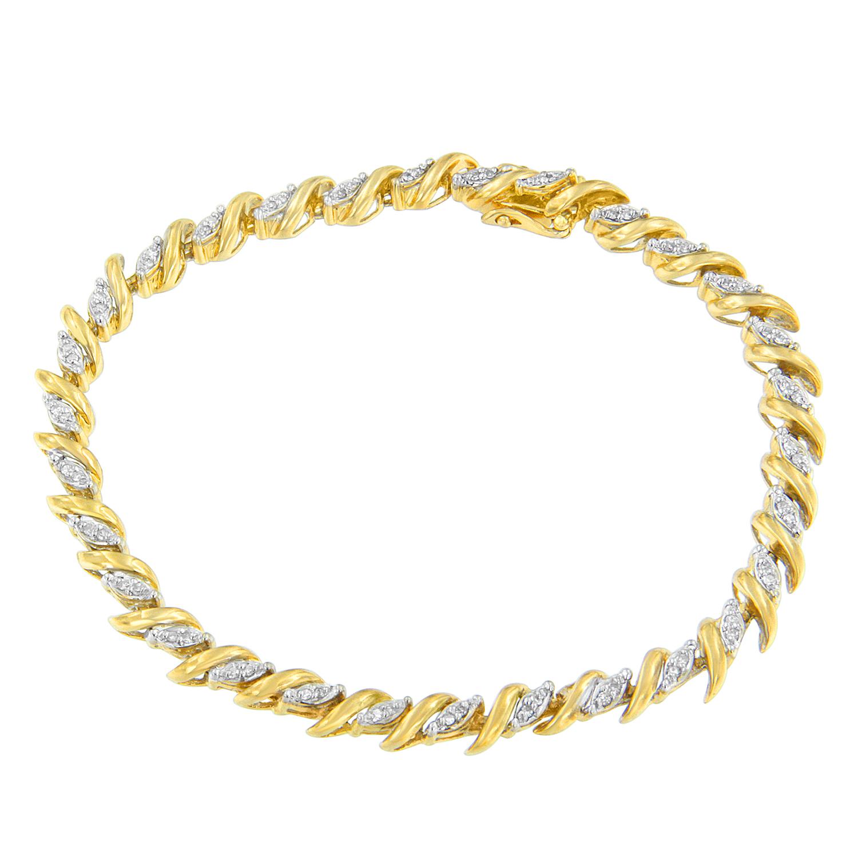 10K Yellow Gold 1 CTTW Round Cut Pavé Diamond Bracelet (H-I, I1-I2)
