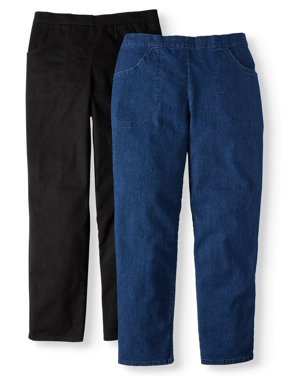 Just My Size Women's Plus Size 2 Pocket Stretch Pull-On Pants Available in Petite, 2 Units Bundle