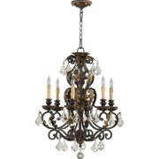 Quorum Rio Salado 6 Light Up Chandelier in Toasted Sienna With Mystic Silver