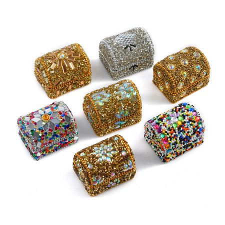 Handcrafted Set of 7 Metallic Multi Color Beaded Wooden Trinket Jewelry Organizer Box Storage 2 Jewelry for Women