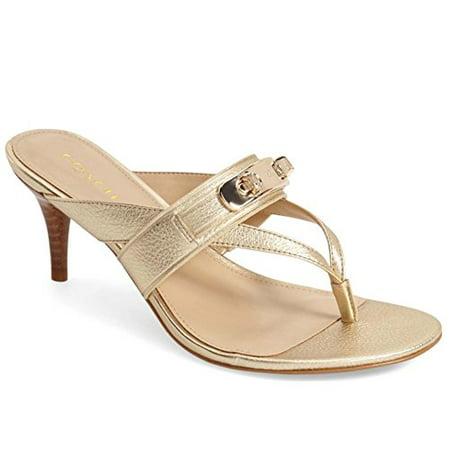 9229e3fc1 Coach - COACH Women s Olina Platinum Turnlock Thong Dress Sandals -  Walmart.com