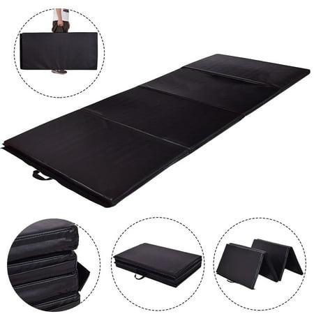 Folding Map - Gymax 4'x8'x2' Gymnastics Mat Thick Folding Panel Exercise Mat Black