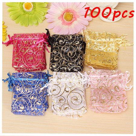 Organza Wedding Gift Bags (100Pcs Organza Bags  Assorted Colors Wedding Sheer Organza Favor Bags Jewelry Organza Drawstring Pouches Gift Bags 7x9cm/2.75*3.5'' Today's Special Offer! )