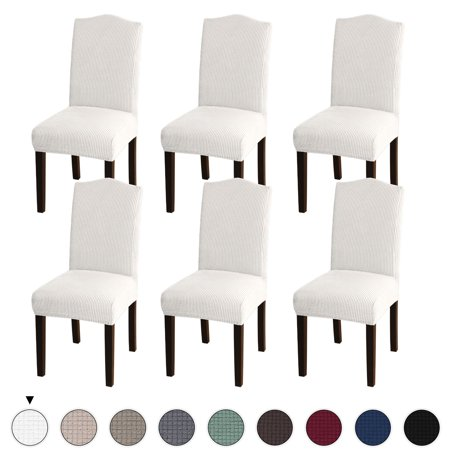 Turquoize Armless Chair Slip Covers For Dining Room Jacquard Dining Room Chair Slipcovers Sets Washable Removable Chair Slipcover Dining Chair Protector Cover For Dining Room Set Of 6, Ivory by Turquoize