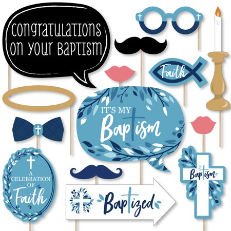 Baptism Blue Elegant Cross - Boy Religious Party Photo Booth Props Kit - 20 Count